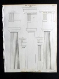 Rees 1820 Antique Print. Architecture 14 Doric Columns